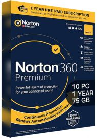 Norton 360 Premium - 10 PCs - 1 Year - 75GB Cloud Storage