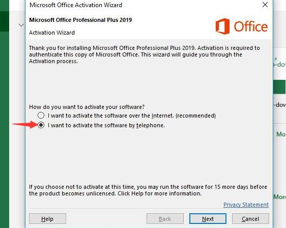 Office 2019 Professional Plus Phone Activation Key