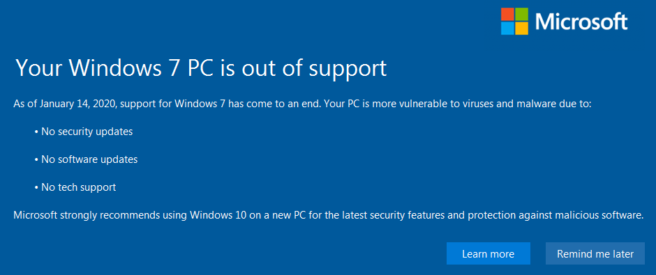 Windows 7 PC is out of support